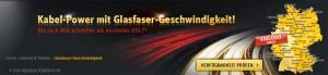 Glasfaster Werbung von der Kabel Deutschland Homepage